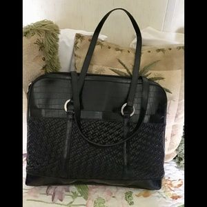Coldwater Creek black faux leather briefcase.